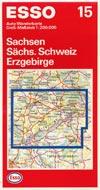 ESSO 15 Auto-Wanderkarte Sachsen, Sächsische Schweiz, Erzgebirge (1993), Maßstab 1:200.000