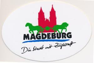 Aufkleber Magdeburg - Die Stadt mit Zugkraft, oval 10cm breit * 6,5 hoch