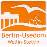 Aufkleber Radweg Berlin-Usedom, 4x4cm orange-weiß