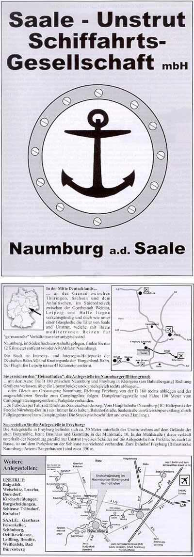 Infoheft Saale-Unstrut-Schiffahrtsgesellschaft Naumburg
