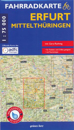 Fahrradkarte Erfurt, Mittelthüringen 1:75.000