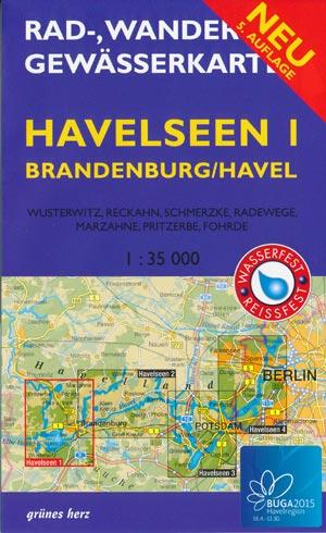 Rad- und Wanderkarte + Gewässerkarte Havelseen 1 Brandenburg/Havel