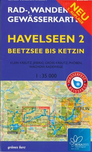 Rad- und Wanderkarte + Gewässerkarte Havelseen 2 Beetzsee-Ketzin