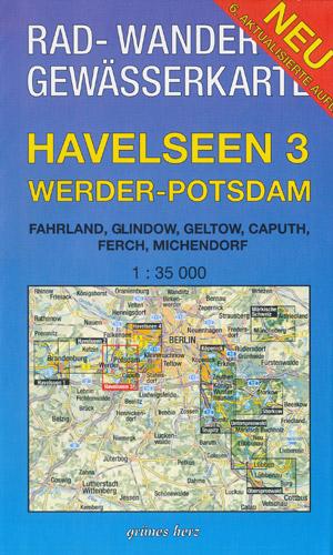 Rad- und Wanderkarte + Gewässerkarte Havelseen 3 Werder-Potsdam