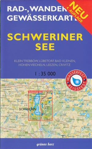 Rad- und Wanderkarte + Gewässerkarte Schweriner See
