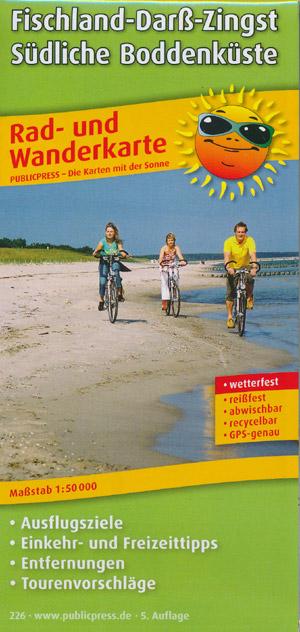 Radwanderkarte Fischland-Darß-Zingst, Südliche Boddenküste M 1:50.000, Publicpress