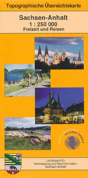 Topographische Übersichtskarte Sachsen-Anhalt M 1:250.000